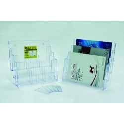 Display plastic pentru brosuri, de birou/perete, 3 x A4-landscape, KEJEA - transparent
