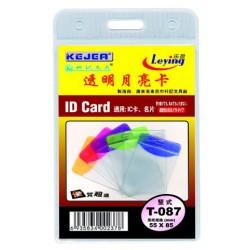 Buzunar PVC, pentru ID carduri, 55 x 85mm, vertical, 10 buc/set, KEJEA - margine transp. color