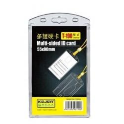 Suport dublu, PS rigid, pentru ID carduri, 55 x 90mm, vertical, 5 buc/set, KEJEA - transparent crist