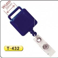 Dispozitiv cu snur retractabil pt. legitimatii, patrat, 20x20mm, agatatoare lanyard, KEJEA-albastru
