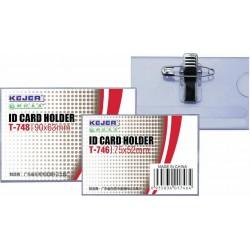 Ecuson PVC, pentru nume, cu ac si clip, 110 x 72mm, KEJEA - transparent