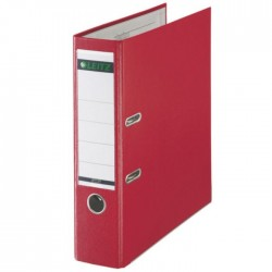 Biblioraft A4, plastifiat PP/paper, margine metalica 80 mm, LEITZ 180 - rosu