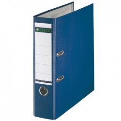 Biblioraft A4, plastifiat PP/paper, margine metalica 80 mm, LEITZ 180 - albastru