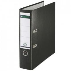 Biblioraft A4, plastifiat PP/paper, margine metalica 80 mm, LEITZ 180 - negru