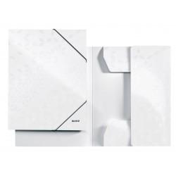 Mapa carton cu elastic LEITZ Wow - alb metalizat