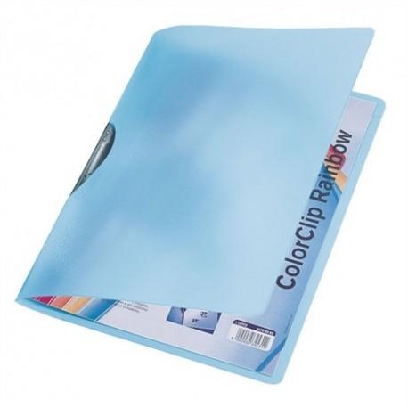 Dosar plastic cu clema pivotanta LEITZ ColorClip Rainbow - albastru transparent