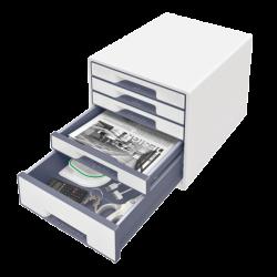 Cabinet cu sertare LEITZ Wow, 5 sertare - alb/gri