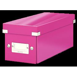 Cutie pentru 30/60 CD-uri cu carcasa Jewel/Slim, LEITZ Click & Store, carton laminat - roz