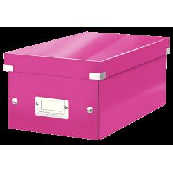 Cutie pentru 20/40 DVD-uri cu carcasa Jewel/Slim, LEITZ Click & Store, carton laminat - roz