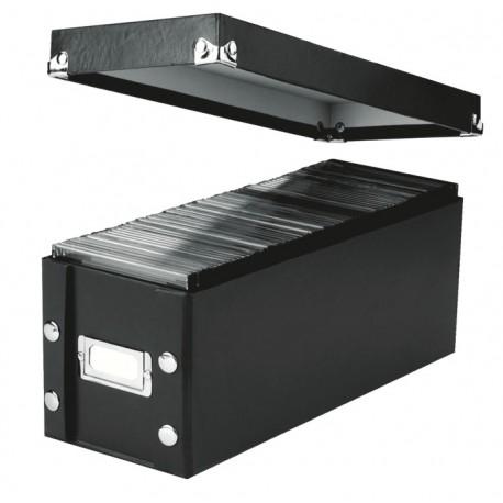 Cutie de arhivare din carton laminat, pentru 165 CD, LEITZ Snap-n-Store - negru