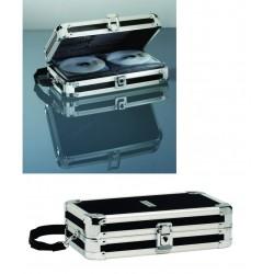 Cutie de arhivare din plastic cu aluminiu, pentru 64 CD/DVD, LEITZ Vaultz - nergru/argintiu