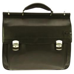 "Geanta laptop 17"", piele neagra, D-LEX"