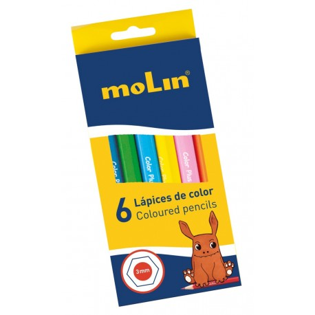 Creioane colorate, 1/2, 6 culori/set, MOLIN Color Plus