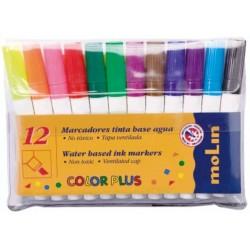 Marker cu cerneala pe baza de apa, pentru copii, 12 culori/set, MOLIN Color Plus