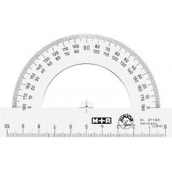 Raportor 180 grade, baza 10 cm, plastic fumuriu, M+R