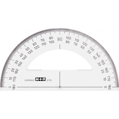 Raportor 180 grade, baza 15 cm, plastic fumuriu, M+R