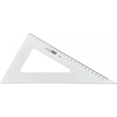 Echer 60 grade, 25 cm, plastic transparent, M+R
