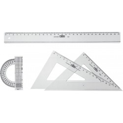 Set instrumente geometrice, plastic transparent, M+R