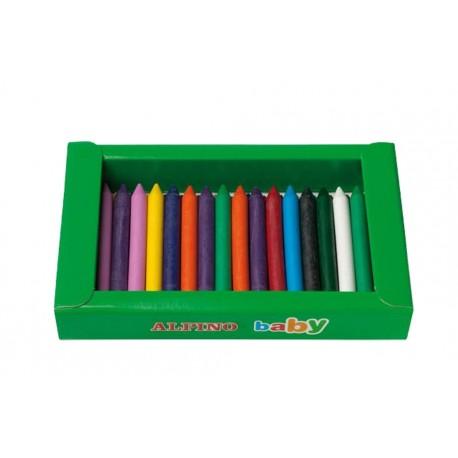 Cutie sertar cu 3 x 12 culori creioane cerate, ALPINO Baby