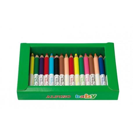 Cutie sertar cu 3 x 12 culori creioane colorate, ALPINO Baby