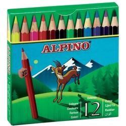 Creioane colorate scurte, cutie carton, 12 culori/set, ALPINO