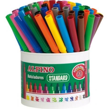 Carioca lavabila, 7 x 12 culori/borcan, ALPINO Standard - ideale pentru scoli si gradinite