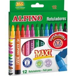 Carioca lavabila, 12 culori/cutie, ALPINO Maxi