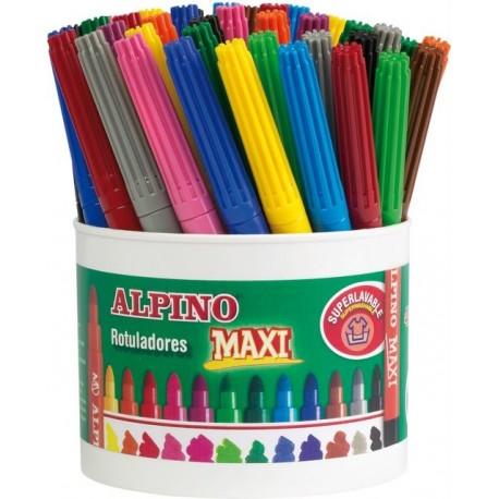 Carioca lavabila, 4 x 12culori/borcan, ALPINO Maxi - ideale pentru scoli si gradinite