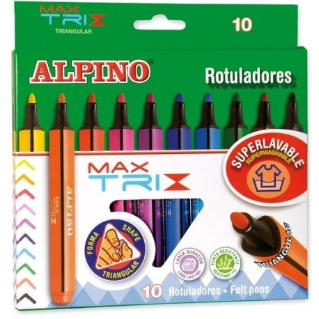 Carioca corp triunghiular, varf gros 4mm, 10 culori/set, ALPINO MaxTrix