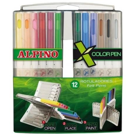 "Carioca, cutie plastic rigid ""X"", 12 culori/set, ALPINO"