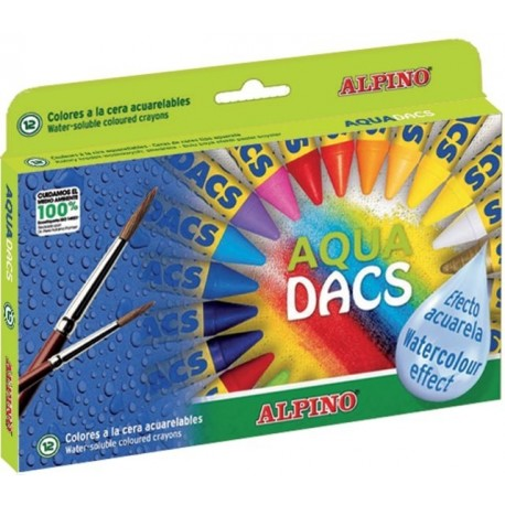 Creioane cerate acuarela, cutie carton, 12 culori/set, ALPINO Aquadacs