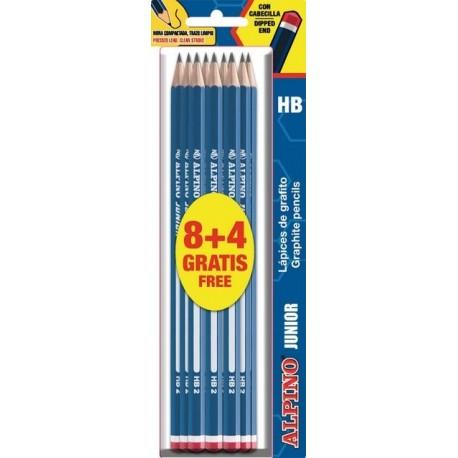 Set 8 creioane HB + 4 creioane gratuite, in blister, ALPINO Junior
