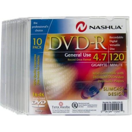 DVD-R 4.7GB, Slimcase, 8x, Nashua