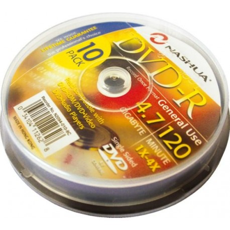 DVD-R 4.7GB, (10 buc. Cakebox, 8x) Nashua