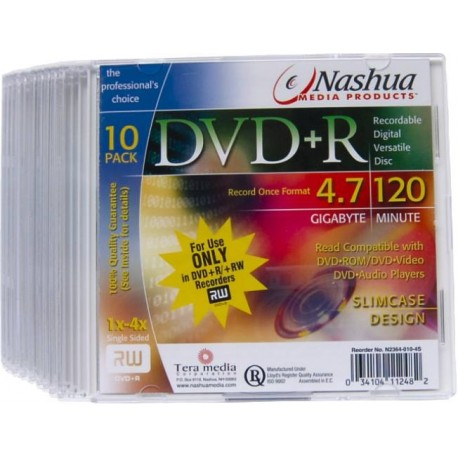 DVD+R 4.7GB Slimcase, 16x,Nashua