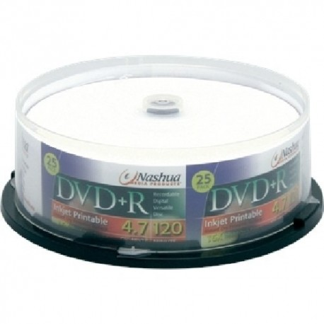 DVD+R 4.7GB, (25 buc. Cakebox, 16x) printabil ink jet, Nashua