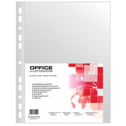 Folie protectie pentru documente A4, 40 microni, 100folii/set, Office Products - transparenta