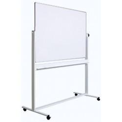 Tabla alba magnetica, dubla fata, rotativa, 90 x 120 cm, pe stand mobil, profil aluminiu, Optima