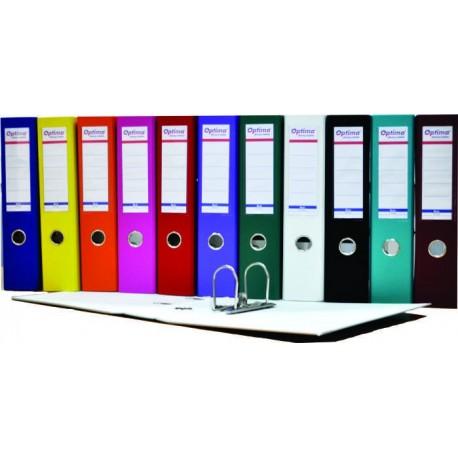 Biblioraft A4, plastifiat PVC/paper, margine metalica, 75 mm, Optima Budget - rosu