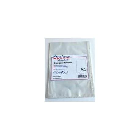 Folie protectie pentru documente A4, 40 microni, 100/set, Optima - transparent