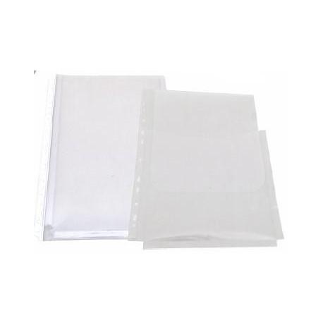 Folie protectie documente A4, cu burduf 20mm, PP - 150 microni, 10/set, Optima