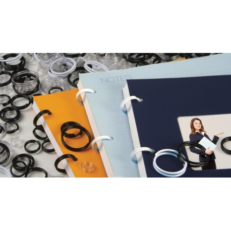 Inele plastic pentru legat, 15 mm, 300buc/cut, OPUS EasyRing - transparent