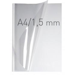 Coperti plastic PP cu sina metalica 1.5mm, OPUS Easy Open - transparent cristal/alb