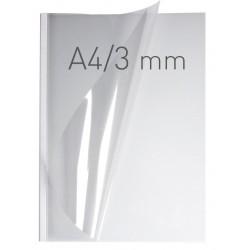 Coperti plastic PP cu sina metalica 3mm, OPUS Easy Open - transparent cristal/alb