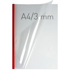 Coperti plastic PP cu sina metalica 3mm, OPUS Easy Open - transparent cristal/rosu