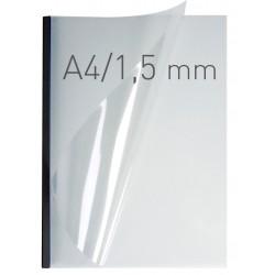 Coperti plastic PP cu sina metalica 1.5mm, OPUS Easy Open - transparent mat/negru