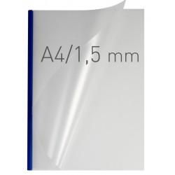 Coperti plastic PP cu sina metalica 1.5mm, OPUS Easy Open - transparent mat/albastru