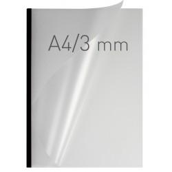 Coperti plastic PP cu sina metalica 3mm, OPUS Easy Open - transparent mat/negru