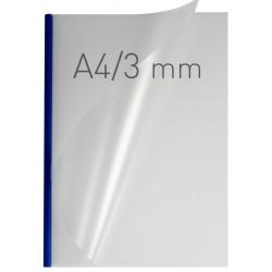 Coperti plastic PP cu sina metalica 3mm, OPUS Easy Open - transparent mat/albastru