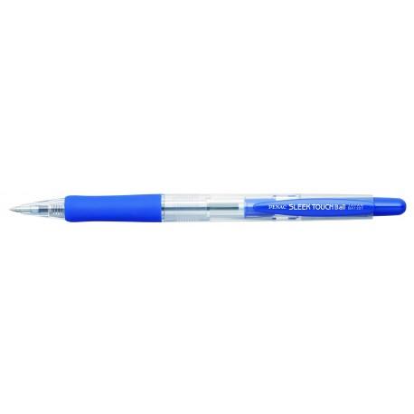 Pix cu rubber grip, PENAC Sleek Touch - corp albastru transparent - scriere albastra